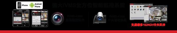強大iVMS全方位智能監控系統- iVMS-4500流動監控軟件,支援iPhone, Android Phone - iVMS-4200中央管理系統,支援最多1024CH中央監控